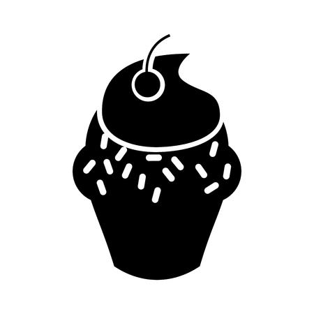 Köstlicher kleiner Kuchen lokalisierte Ikonenvektor-Illustrationsdesign Standard-Bild - 75771139