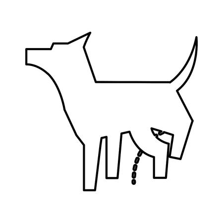 pet dog peeing mascot silhouette vector illustration design