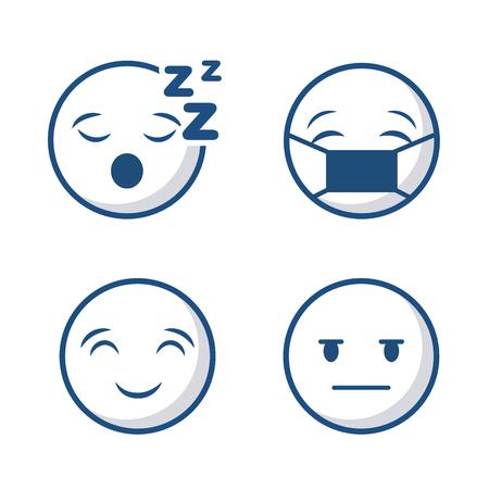 漫画の顔アイコンが白い背景上に設定。ベクトル図  イラスト・ベクター素材