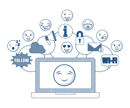 laptop computer with cartoon faces around over white background. Illustration