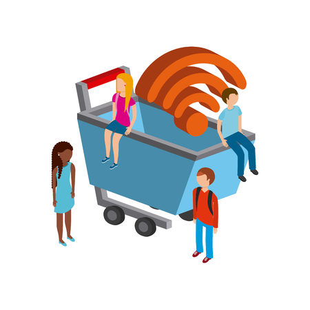 millimeters: shopping cart and people isometric icon over white background. Illustration