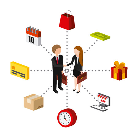 icons: people and shopping related isometric icons over white background. colorful design. vector illustration