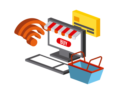 computer and shopping basket and icon over white background. Illustration