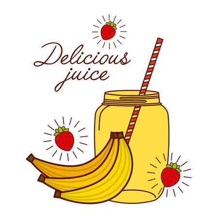 delicious banana juice glass and fruit icon over white background.