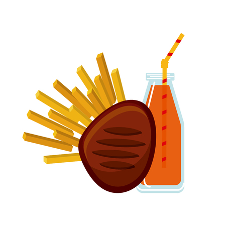 meat, french fries and soda bottle icon over white background. colorful design. vector illustration