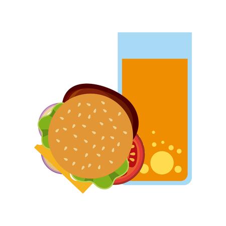 icono de vidrio de hamburguesa y jugo sobre fondo blanco.
