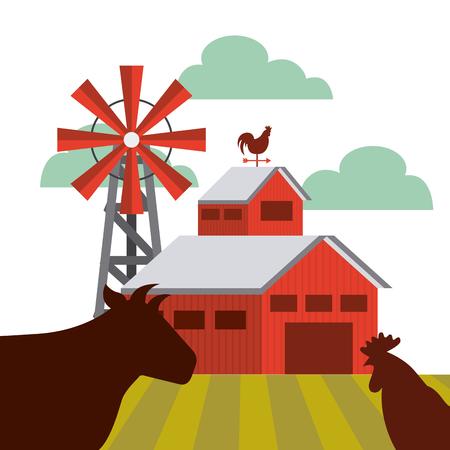 팜 헛간 및 암소와 닭고기 아이콘의 실루엣. 화려한 디자인입니다. 벡터 일러스트 레이 션 일러스트