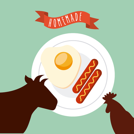 breakfast food and chicken and cow silhouette over blue background.