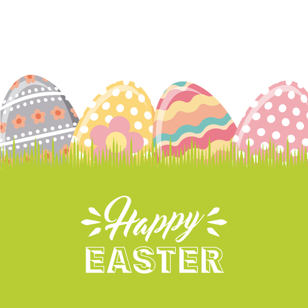 happy easter card with easter eggs over white background. colorful desing. vector illustration Illustration