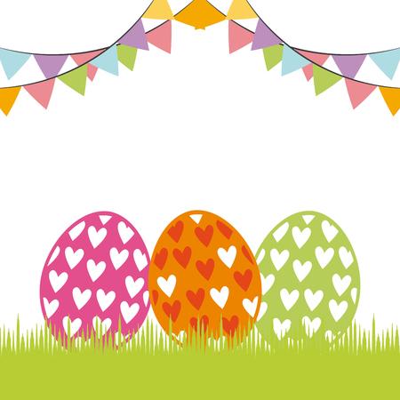easter eggs icon over white background. colorful design. vector illustration Illustration