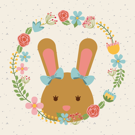 decorative wreath of flowers and bunny icon over white background. colorful design. vector illustration