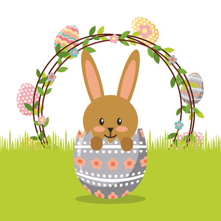 flowers, rabbit and easter eggs over white background. colorful design. vector illustration