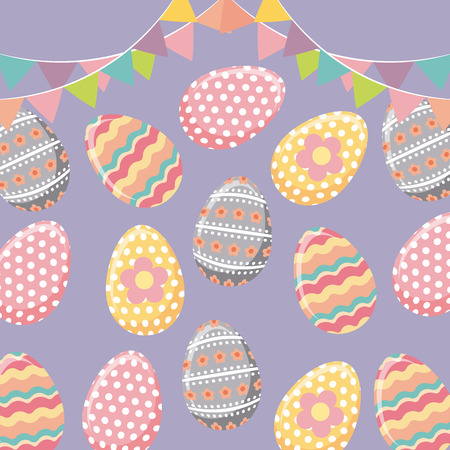 easter eggs icon over purple background. colorful design. vector illustration