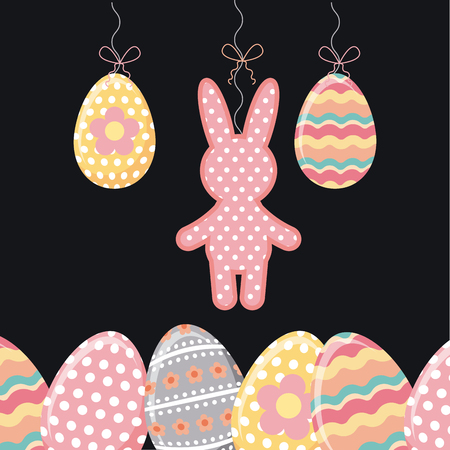 rabbit and easter eggs over black backgorund. colorful design. vector illustration Illustration
