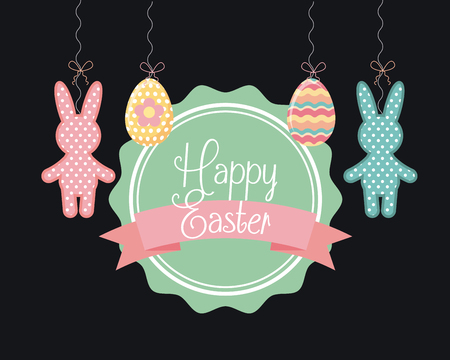 desing: happy easter card with bunny and easter eggs over black background. colorful desing. vector illustration Illustration