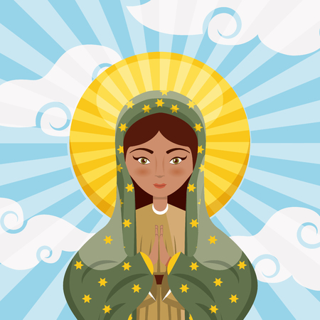 virgin mary icon over sky background.