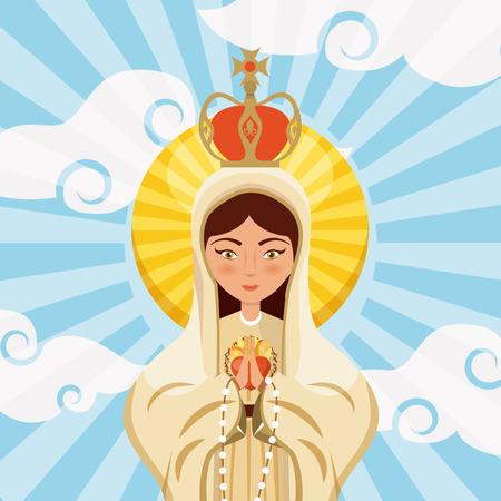 하늘 배경 위에 처녀 메리 아이콘입니다.
