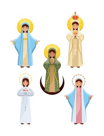 maagd Maria pictogram ingesteld op witte achtergrond. kleurrijk ontwerp. vectorillustratie Stock Illustratie