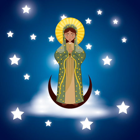 virgin mary icon over blue background and stars around. colorful design. vector illustration Illustration