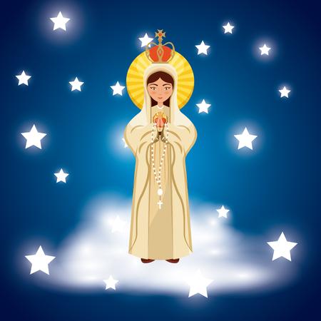 maagdelijke Mary pictogram over blauwe achtergrond en sterren rond. kleurrijk ontwerp. vector illustratie