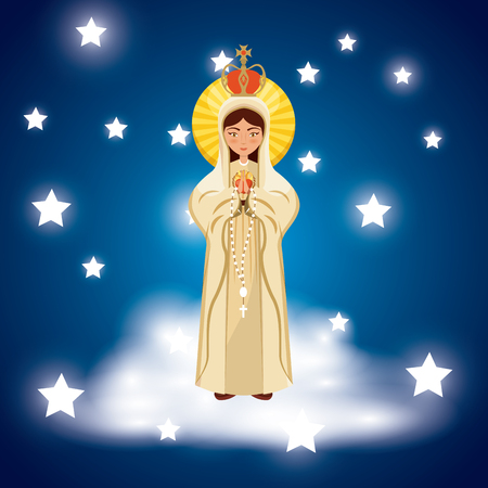 virgin mary icon over blue background and stars around. colorful design. vector illustration Çizim