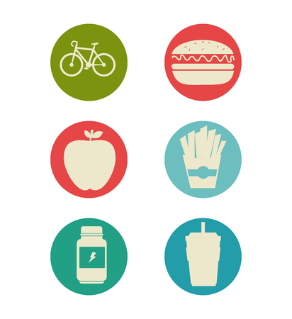 dieting: Healthy lifestyle set icons vector illustration design.