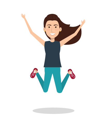 Woman celebrating with a leap vector illustration design.