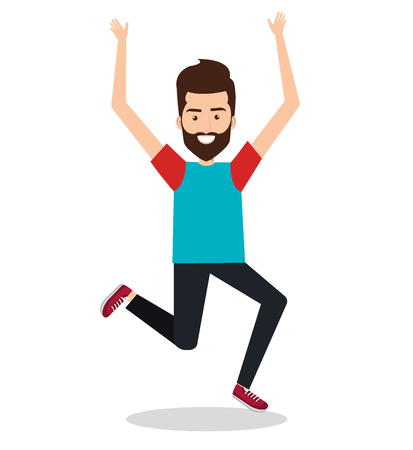 Man celebrating with a leap vector illustration design.