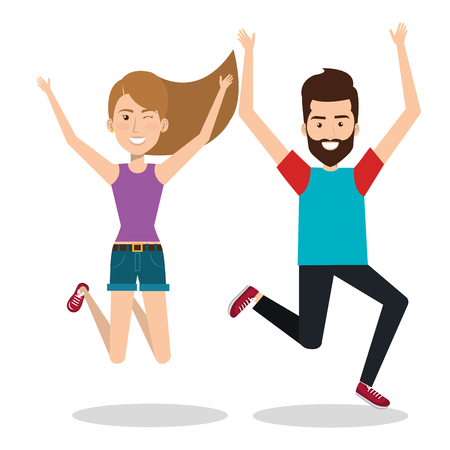 achievement concept: people celebrating with a leap vector illustration design