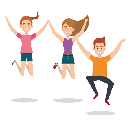 People celebrating with a leap vector illustration design.