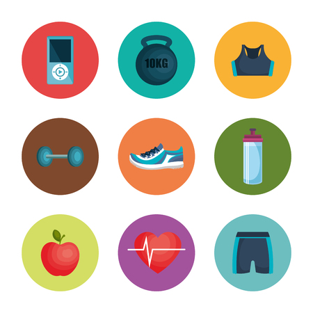 healthy lifestyle flat icons vector illustration design