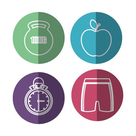proper: healthy lifestyle flat icons vector illustration design