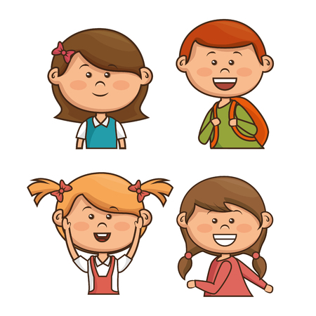 group of young adults: cute little kids character vector illustration design Illustration