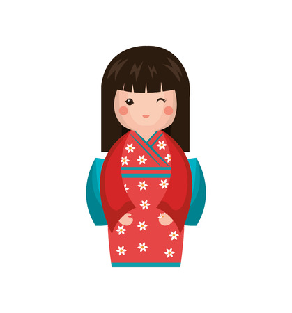 Japanese girl doll icon vector illustration design