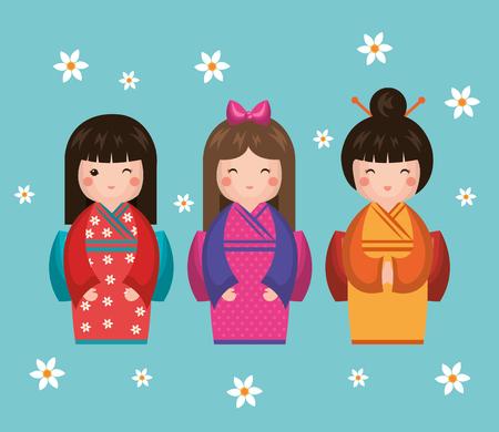 日本の女の子の人形アイコン ベクトル イラスト デザイン