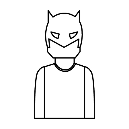 super hero with mask character vector illustration design Illustration