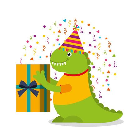 happy birthday card with monster vector illustration design