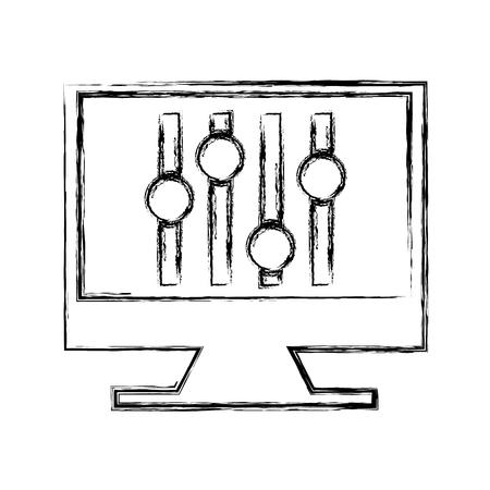 computer with audio control panel icon vector illustration design