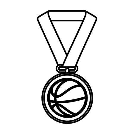 basketball medal isolated icon vector illustration design