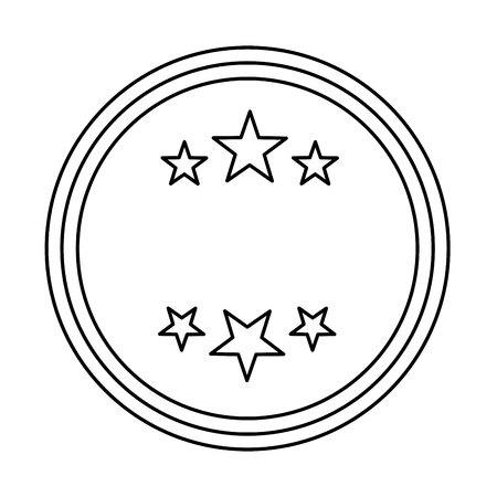 circle seal stamp with stars vector illustration design