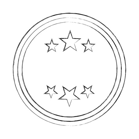 circle seal stamp with stars vector illustration design Stock Vector - 75974251