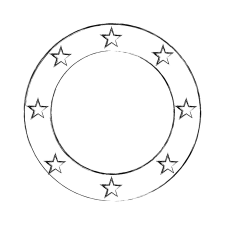 approbation: circle seal stamp with stars vector illustration design