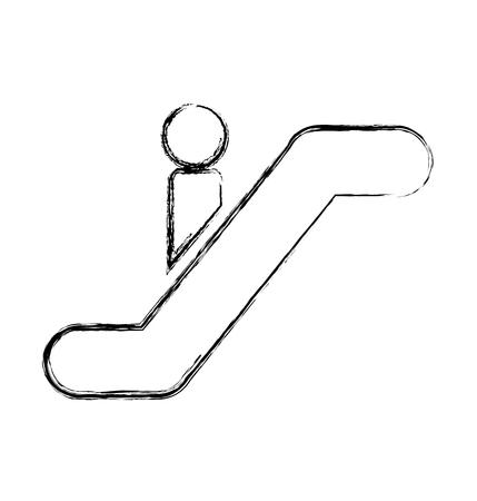 upstairs: person silhouette in escalators vector illustration design