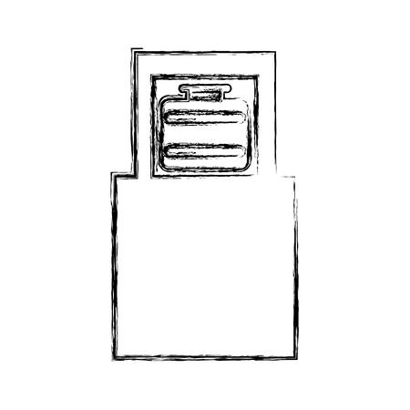 Suitcase in airport scanner vector illustration design Illustration