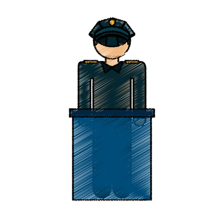 airport police silhouette icon vector illustration design Illustration