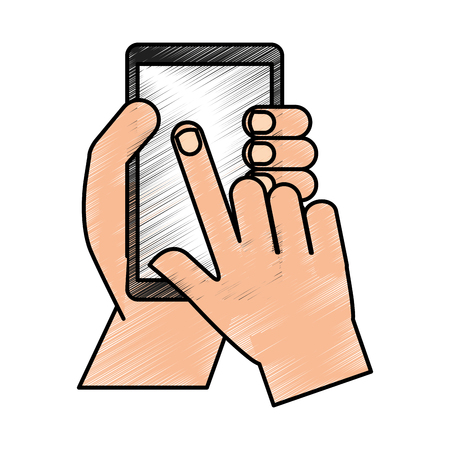 hands user smartphone icon vector illustration design