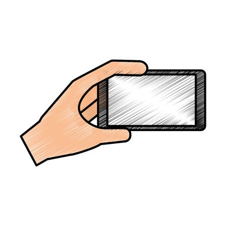 using smart phone: hands user smartphone icon vector illustration design