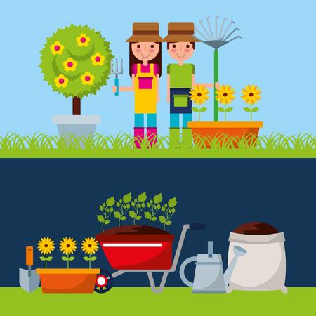 gardener with cute garden vector illustration design