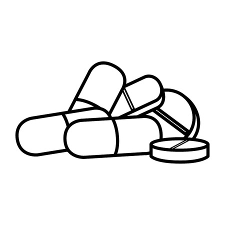 pills and capsules drugs isolated icon vector illustration design Illustration