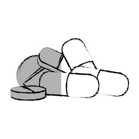 Pilules et capsules médicaments isolés icône vector illustration design Banque d'images - 75990717